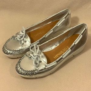 Libby.Edelman Silver Wedge Shoes